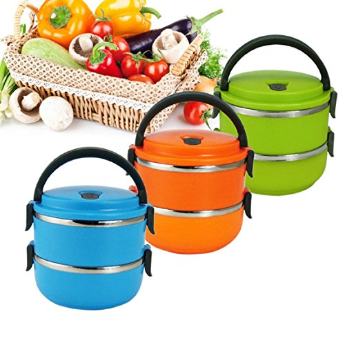 DINY Home & Style Double Layer Stainless Steel Vacuum Lunch Box Bento 1.4L (Random Color Shipped) by DINY Home & Style