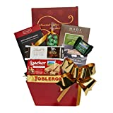 Red Christmas Basket of Gourmet Treats, Sweets and Chocolate Goodies