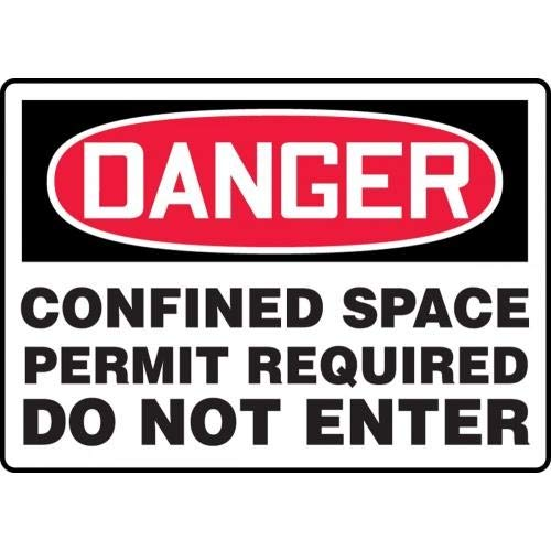 Dura-Plastic 0.060 Thickness 7 Length Red//Black on White Accuform MCSP122XT LegendDANGER CONFINED SPACE PERMIT REQUIRED DO NOT ENTER Sign 10 Wide 7 Height