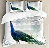Ambesonne Animal Duvet Cover Set King Size, Digital Watercolor of Peacock with Colorful Feathers Spiritual Bird, Decorative 3 Piece Bedding Set with 2 Pillow Shams, Blue Forest Green Dust