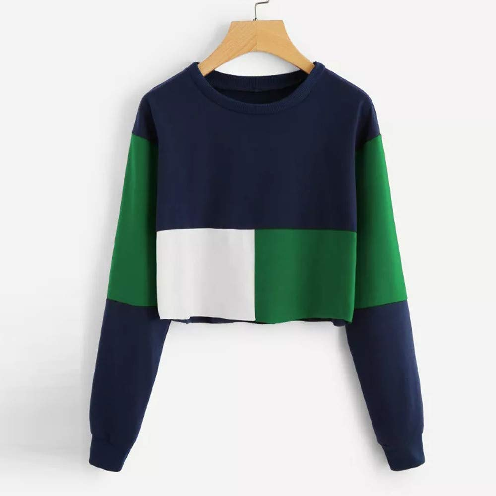 LISTHA Crop Pullover Sweatshirts Women Long Sleeve Patchwork Tops Casual T Shirt at Amazon Womens Clothing store: