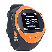 LUCOG GPS Smart Watch with SOS Call & Real Time Communication Built in GSM SIM Slot Anti-lost Location Finder Tracking Device for Elderly Person Parents Grandparents Gift (Orange)
