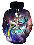 Cat Captain Hoodies for Unisex Teens Colorful 3D Pullover Long Sleeve Sweatshirt Warm Drawstring Hat Clothes Outfits Jackets with Big Pocket Cool Shark Graphic Coats Lovely Galaxy Daily Hoodies Tops