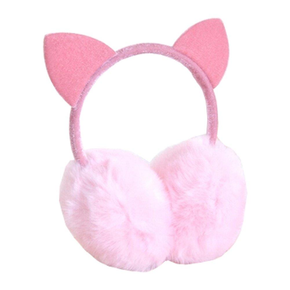 Lovely Cat Ears Super Soft Earmuffs Winter Earmuffs Ear Warmers, Pink KE-CLO2474962011-JELLY04609