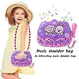Kids Karaoke Toys, Microphone Musical Toys, Multifunctional Karaoke Microphone With Shoulder Bag Flashing Lights Toy for Kids Children Girls (Purple)