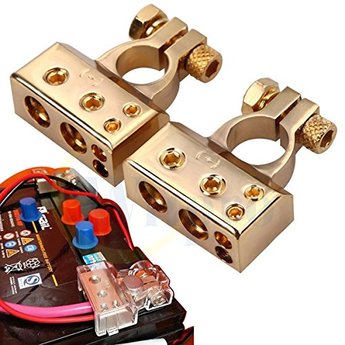 Wiipro 2PCS Positive Negative Battery Terminal for Auto Car 2/4/8 Gauge AWG Heavy Duty Metal Gold (Gold Plated Terminals)