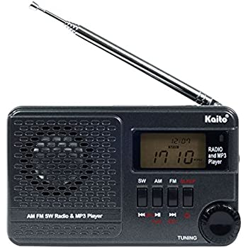 Kaito KA345 Pocket Digital DSP (Digital Signal Processing) AM FM Shortwave Clock Radio and MP3 Player with Micro-SD & USB Audio Input