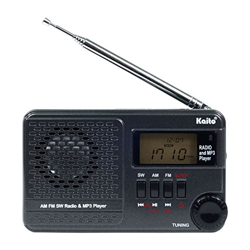 Kaito KA345 Pocket Digital DSP (Digital Signal Processing) AM FM Shortwave Clock Radio and MP3 Player with Micro-SD & USB Audio Input by Kaito