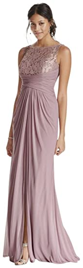 Sleeveless Long Metallic Bridesmaid Dress With Corded Lace Style