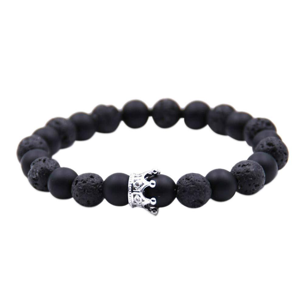 Zainafacai Natural Stone Crown Beads,Bracelet for Women Pave Zircon Men Color Stretch Beads Bracelets Couple Jewelry