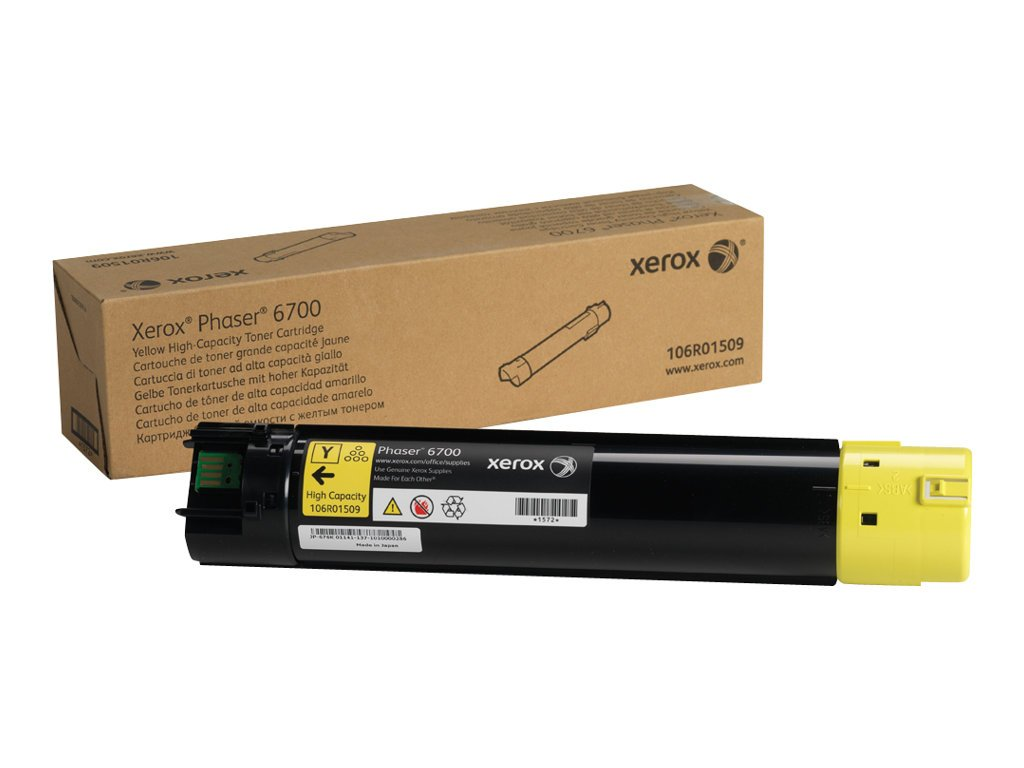 Xerox Phaser 6700 Yellow High Capacity Toner Cartridge (12,000 Pages) - 106R01509