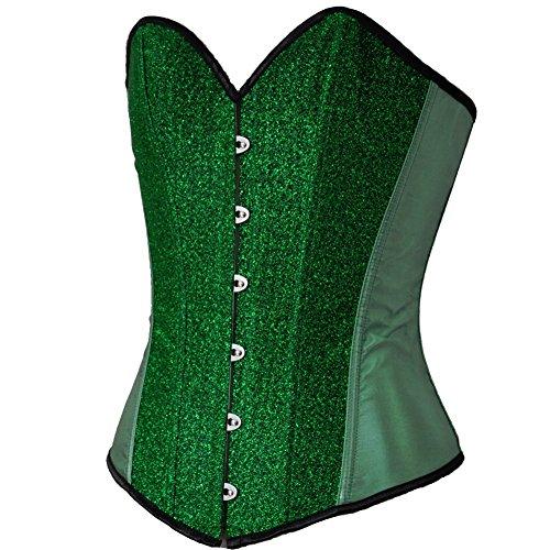 ZAMME mujers Jacquard Stripe Sexy Sin espinas Corsé Con tanga Verde