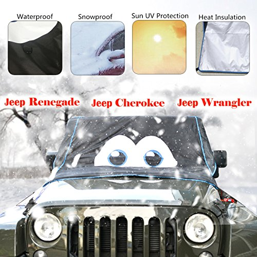 (for Jeep Renegade / Jeep Cherokee / Jeep Wrangler )Cartoon Eyes Design Magnet Windshield Cover Ice & Snow Frost Freeze Protector Heat Insulation Sun-UV Shield Dust Shield Waterproof