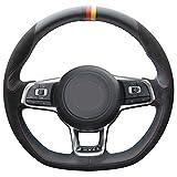 vw r steering wheel - Loncky Black Suede Black Leather Auto Custom steering wheel covers for 2015 2016 2017 2018 Volkswagen Jetta GLI VW / 2015 2016 2017 VW Golf R / 2015-2018 VW Golf 7 MK7 GTI Interior Accessories Parts