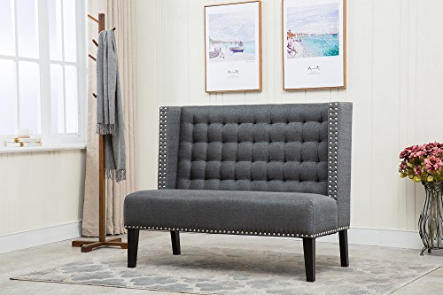 Azufi 52″ Gray Linen Fabric Blind Biscuit Tufting Upholstered 2-Seater Loveseat Sidney Settee with Copper Nail Head Trim, Tuxedo Slate