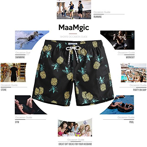 b021a37edb513 MaaMgic Mens Slim Fit Quick Dry Short Anchor Swim Trunks with Mesh Lining
