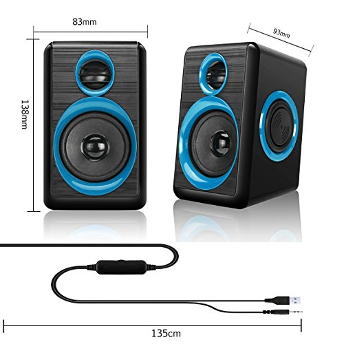 Computer Speakers,AIERSIQI USB Wired Powered Mulitimedia Speaker with Subwoofer Volume Control Built-in 4 Loudspeaker Diaphragm for PC/Laptop/Desktop by AIERSIQI (Image #3)