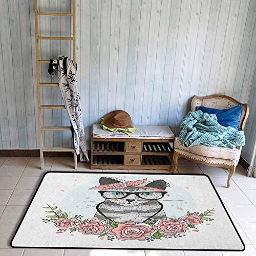 Living Room Rug,Kitten Hipster Cool Cat with Spectacles Scarf Necklace Earrings and Flowers Little Hearts,Rustic Home Decor,4'7