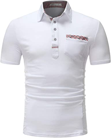 Mieuid Hombre Polo Camisa De Verano Simple Estilo Solapa Polo Camisa Blanca Hombres Chic Delgada De Manga Corta Polo Básico: Amazon.es: Ropa y accesorios