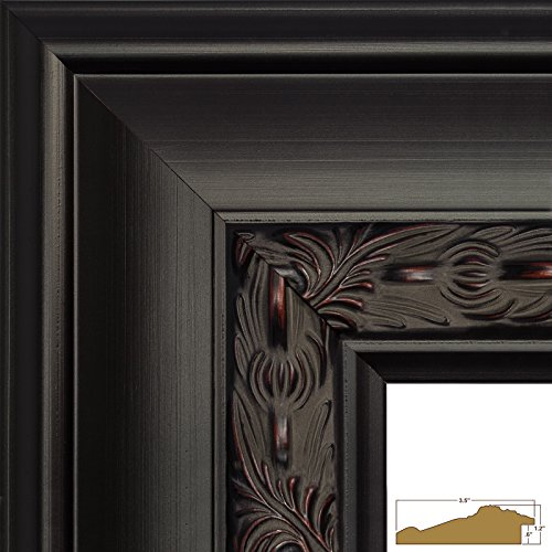 Black Brown Wood (Craig Frames 9204 24 by 36-Inch Picture Frame, Ornate Finish, 3.5-Inch Wide, Black with Red Tones)