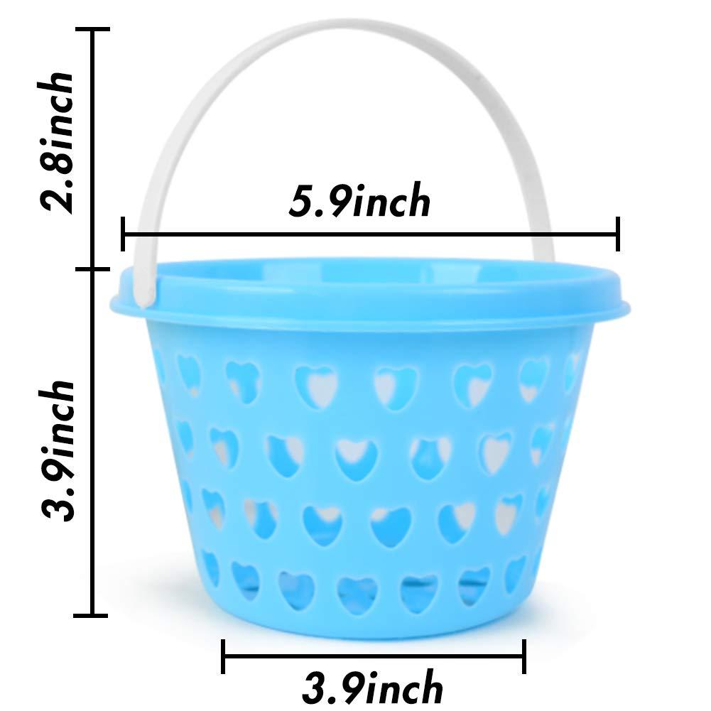 HansGo Plastic Easter basket, 6 PCS Small Easter Egg Baskets set with Easter Grass 50g for Kids Easter Eggs Hunting