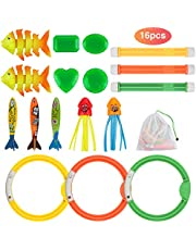 Anpro 16pcs Diving Pool Toys Set, Dive Stick Toys for Kids, Swimming Pools Toys including 3 pcs Dive Sticks, 3 pcs Dive Rings, 3 pcs Toypedo Bandits, Perfect for Children Over 5 Years Old