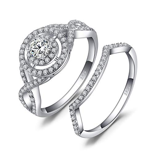 JewelryPalace Wedding Rings Halo Engagement Rings For Women Anniversary Promise Ring Bridal Sets Infinity Cubic Zirconia Simulated Diamond 925 Sterling Silver Ring Sets Size 6