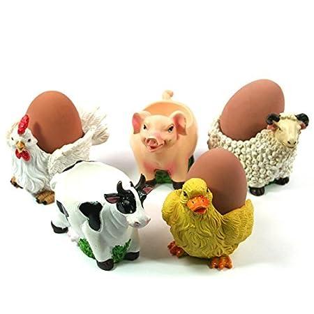Novelty Animal Farmyard Egg Cups (Set of 5): Amazon.co.uk: Kitchen ...