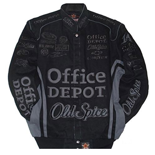 Nascar Tony Stewart Office Depot Black Jacket Size - Twill Jacket Black Cotton Stewart