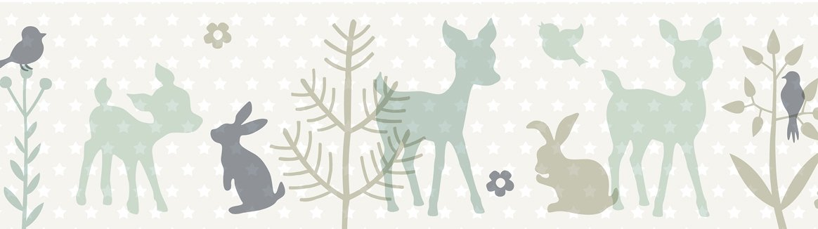 lovely label, cenefa autoadhesiva, 450 x 11,5 cm, diseño de animales con corcino, color beige-menta