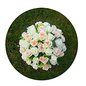 Sevem-D New 36 Heads Roses Silk Flower Ball Table Wedding Silk Flower with Foam Ball Pillars Candle Holders Flowers,Champange Ivory 2 87