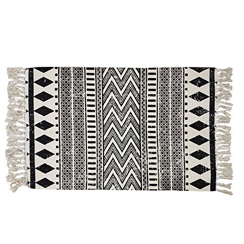 (USTIDE Cotton Braided Black&Cream Bohemian Rag Rug Washable Decorative Porch Doormat Hand Woven Tassel Rug, 2'×3')