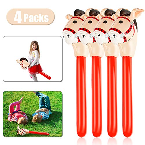 4 Pieces Inflatable Stick Horse Inflatable Horsehead Stick Balloon for Theme Birthday Party Decoration Supply, 37 Inches