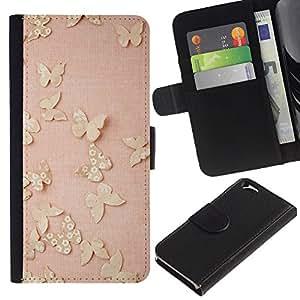 EJOY---La carpeta del tirón la caja de cuero de alta calidad de la PU Caso protector / Apple Iphone 6 / --Mariposas del oro rosado de la primavera lindo Limpio