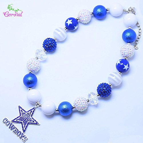 - Girls Dallas Cowboys Football Necklace Football Chunky Necklace Sports Bubblegum Necklace