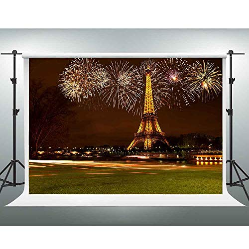 GESEN Paris Backdrop 7x5ft Eiffel Tower Photo Backdrop Colorful Fireworks Landmarks Photography Background Themed Party Decorations Photo Booth Props PGGE676]()