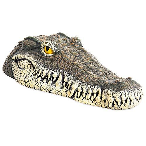 Everrich Crocodile Head Bait and Pond Float - Outdoor aqueous Solution Floating Crocodile Head Garden - Pond Crocodile Head Art Deco - Suppressing Scary Goose, Predator, Heron, Duck, etc.
