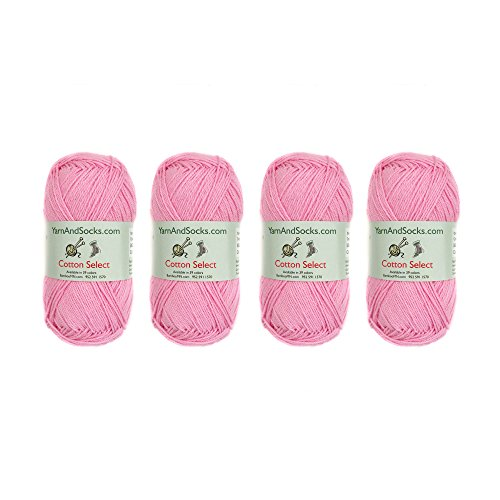 Cotton Select Sport Weight Yarn - 100% Fine Cotton - 4 Skeins - Col 103 - Marina Pink