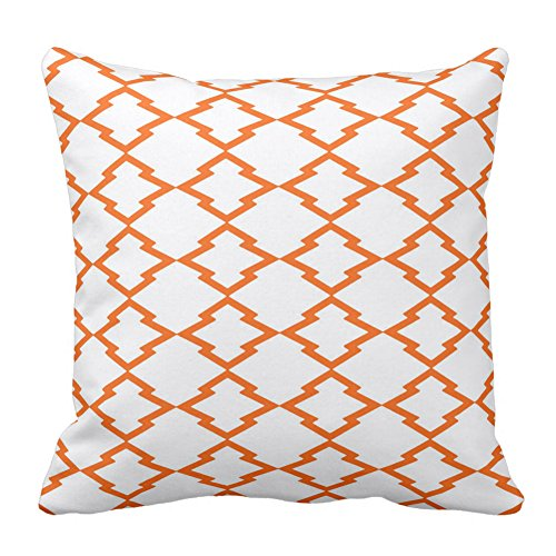 Geometric Pattern Lattice Grid Checks Orange And White Throw Pillow Case  Cushion Cover Home Sofa Decorative