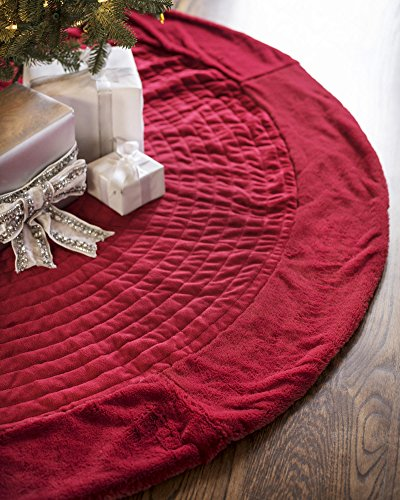 Balsam Hill Berkshire Channel Stitch Tree Skirt, 84 inches, Cardinal Red