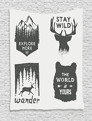 "Quote Tapestry Decor by Ambesonne, Wilderness Emblems ""Stay Wild"" ""Wander"" ""the World is Your"" Arrow Pine Image Print, Bedroom Living Room Dorm Wall Hanging Tapestry, Dimgray Platinum"