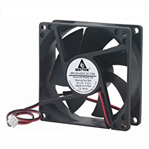 GDSTIME 4500RPM 8cm 80mm x 80mm x 25mm 12v Big Airflow High Speed Dual Ball Bearing Brushless DC Cooling Fan