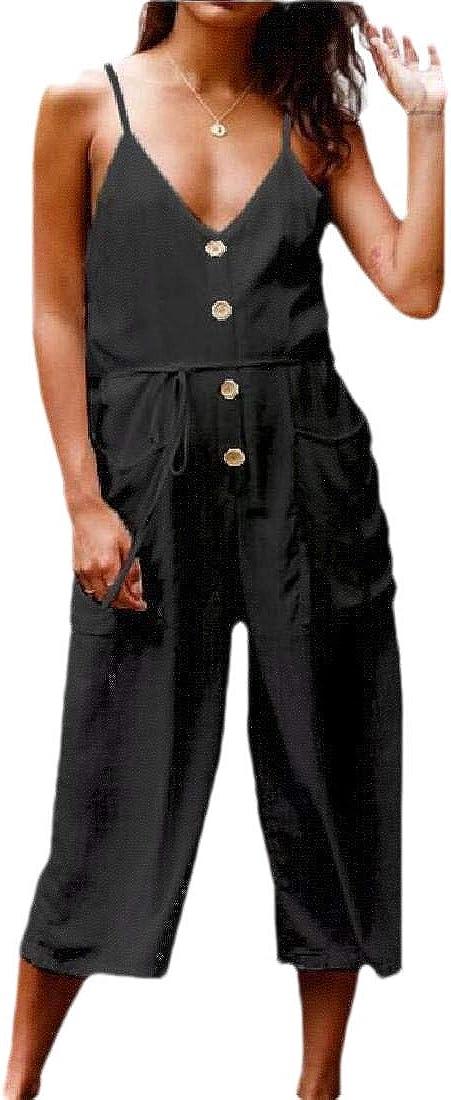 Women V Neck Backless Front Button Cotton Linen Playsuit Party Fashion Jumpsuit