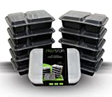 PrepStor 2 Compartment Food Containers with Lids, Bento/Lunch Box, Divided Plate. Freezer, Microwave, & Dishwasher Safe, Leak Proof, 10 Pack