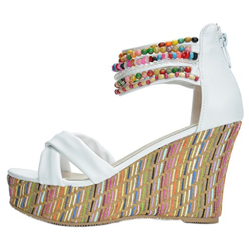 Platform Wedge Across Sandals The white Bling Top Bling High DREAM Women's PAIRS Pearls Heels TxCqnHSnBw