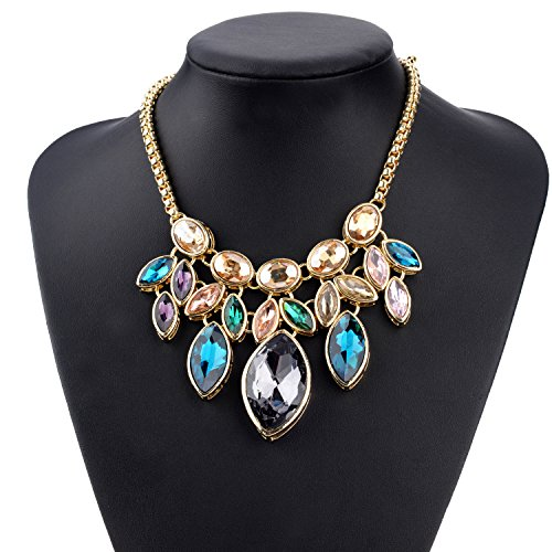 """Ginasy Choker Necklace in Crystal Gold Tone - Statement Jewelry for Women Girls (Teardrop 16"""" same)"""