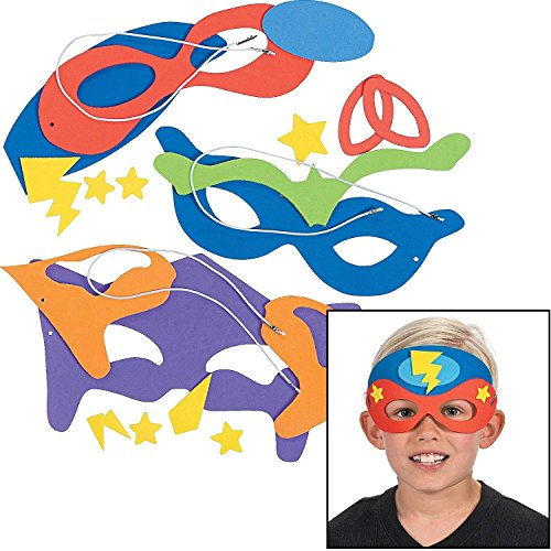 Own Mask Kit - Superhero Masks Craft Kits (Makes 12) Self-Adhesive Foam Each 8 1/2