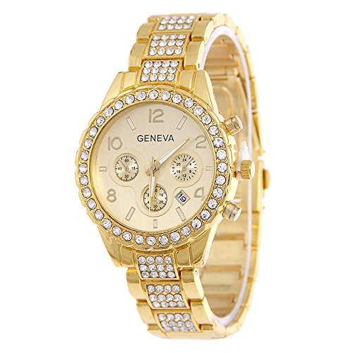 Geneva Unisex Watch, Crystal Quartz Calendar Stainless Steel Gold-Tone Wrist Watch Luxury Style - Happy Hours