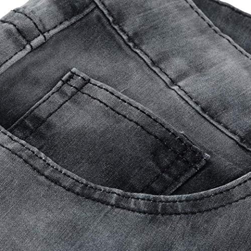 Motociclista Aderenti Slim Casual Grau Strappati Paillettes Da Moderna Sfilacciati Grigi Jeans Pantaloni Haidean Skinny Con Uomo w8qzxnR