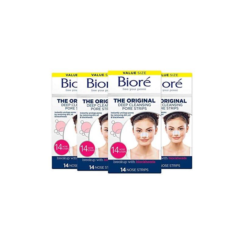 Bioré Original, Deep Cleansing Pore Strips, 14 ct (pack of 4) Nose Strips for Blackhead Removal
